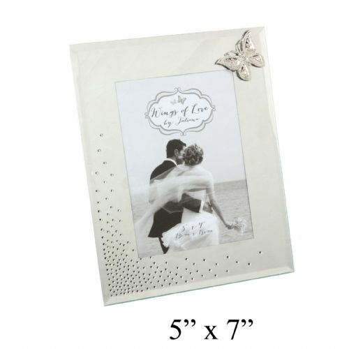 Wings Of Love Mirror and Crystal Wedding Photo Frame With Diamante Butterfly - Beautiful Wedding Gifts